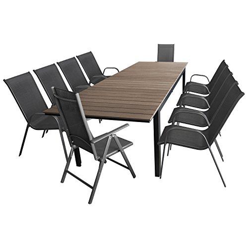 Multistore 2002 11tlg. Gartengarnitur Gartenmöbel Set Sitzgarnitur Sitzgruppe Aluminium Polywood Gartentisch 280/220x95cm + 8X Stapelstuhl Textilen + 2X Hochlehner Textilen