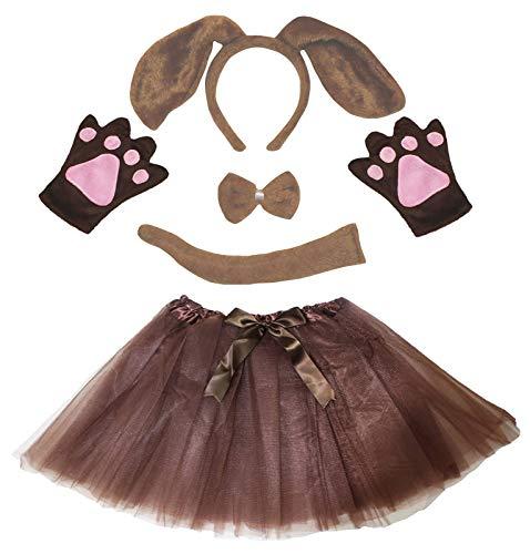 Petitebelle Hund Stirnband Bowtie Schwanz Handschuhe Tutu Kinder 5pc Kostüm Einheitsgröße Brauner Hund