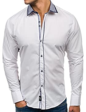 BOLF Hombre Camisa Elegante Abotonada Cuello Italiano Estilo Casual 2B2