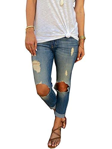 QIYUSHOW Damen Jeanshose blau blau 52 Dunkelblau