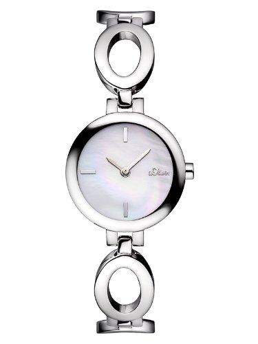 s.Oliver SO-2806-MQ - Reloj analógico de cuarzo para mujer, correa de acero inoxidable color plateado