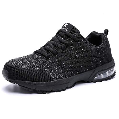 Kuako Damen Turnschuhe Atmungsaktiv Straßenlaufschuhe Sportschuhe Air Fitness Sneaker Laufschuhe 41 EU Schwarz