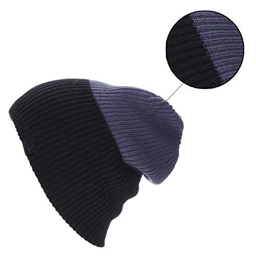 Surker double couture couleur tricot fait ¨¤ la main beanie hiver chaude chapeau de ski gris clair