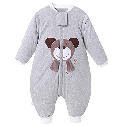 Saco de dormir para bebé, para invierno, oso, niño, niña, recién nacido, pelele – 2,5 TOG, con pies, para todo el año Gris