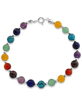 Bling Jewelry Sterling Silber 6MM Multicolor Edelstein Perlen Armband 7.5In
