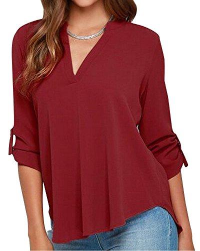 Donna Camicia Blusa Maglia Chiffon Manica Lunga Casual Elegante Ufficio V-collo Vino Rosso