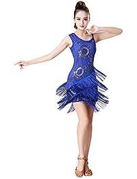 BOZEVON Mujeres Ropa de Baile Borla Sin Mangas Vestido de Baile Latino  Rendimiento Competencia Práctica Disfraz f262ae234eb