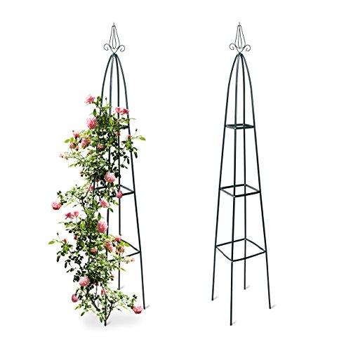 2x Rankturm, Garten Obelisk, freistehende Rankhilfe für Kletterpflanzen, Ranksäule, Metall, HBT 192 x 35 x 35 cm, grün