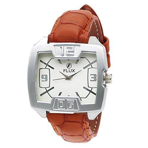 Flux Fashion Analog Tan Leather Strap White Dial Men's Watch-WCH-FX275  available at amazon for Rs.79