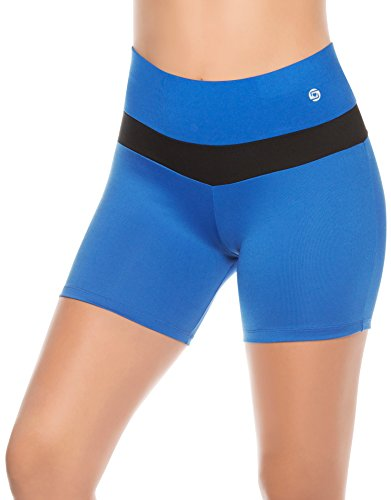 Shorts de Compression pour Femme Taille Haute et Coupe Basse aux jambes Course Gym Musculation Cardio Bleu