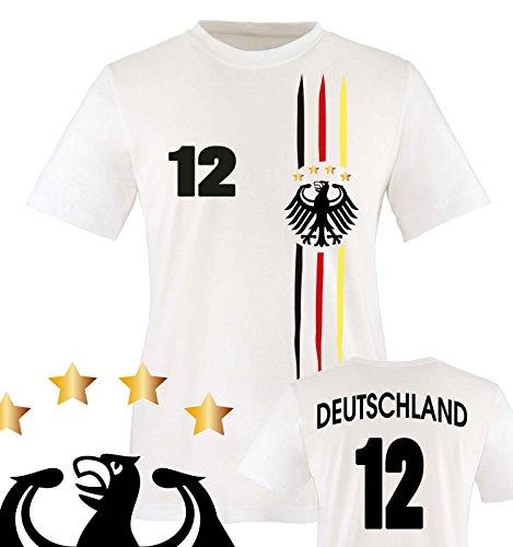 Comedy Shirts - WM 2018 | M1 | VORNE + HINTEN | 12 - Kinder T-Shirt - Weiss/Schwarz-Rot-Gelb Gr. 134-146