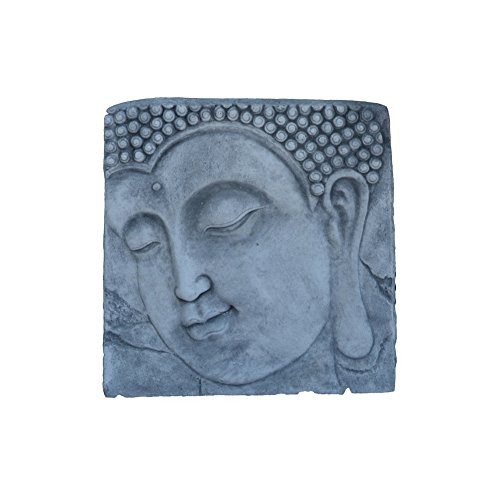 gartendekoparadies.de Wunderschönes Buddha Kopf Relief Wandbild Feng-Shui aus Steinguss frostfest