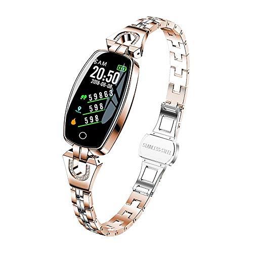 Mygsn Watch Weiblicher Fitness Tracker - Smart Armband HD Farbdisplay Wettervorhersage wasserdichte Herzfrequenz Blutdruck Gesundheit Test Weiblichen Armband Watch (Farbe : Gold)