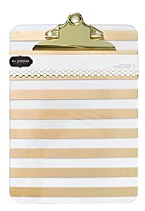 American Crafts DIY Home Acrylic Clipboard 9-inch x 12.5-inch-Gold Foil Stripe, Other, Multicoloured