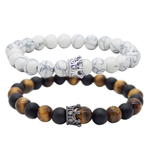 UEUC King & Queen Crown Abstand Paar Tigerauge Armbänder Seine Ihr Schwarz Matt Achat 8mm Perlen Armband - Perle Armband