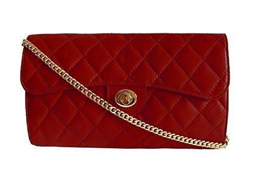"""Bags4Less Sac de soirée / Sac bandoulière / Sac à main / Clutch """"Elegance"""" matelassé Dimensions: 26cm x 16cm x 7cm - Noir, 36 rouge"""