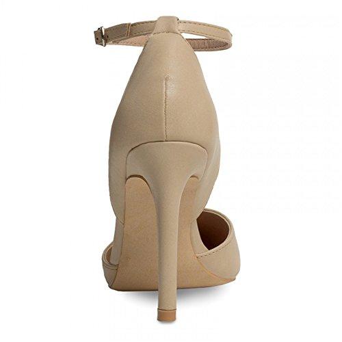 CASPAR - Escarpins à bride pour femme - avec talons hauts et bout pointu - plusieurs coloris - SBU007 Beige