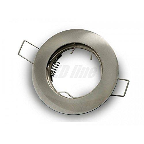 Einbaustrahler, LED und Halogen Einbauspot Spot Rund Metall Satin ideal für LED Lampen + GU10 Fassung, LEDLine -