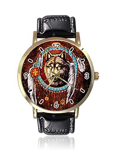 Reloj de Pulsera de Estilo Retro con diseño de atrapasueños y Lobo, Unisex, de Piel, Casual, de Cuarzo