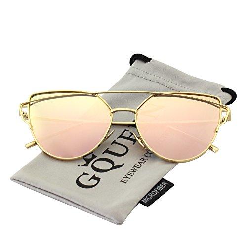 comprare popolare 8cd6b b567a GQUEEN Occhiali da Sole Donna Montatura in Metallo a Specchio Lenti  Polarizzate Occhi di Gatto MS4