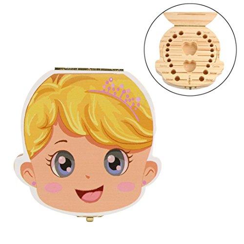 Baby Tooth Box organizer Milk teeth Wood storage Souvenir Tooth Fairy box (Girl 2)