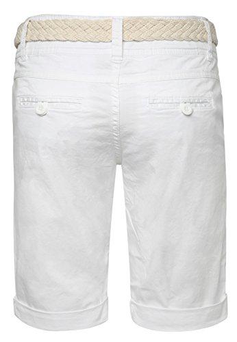 Fresh Made Bermuda femme couleur pastel avec ceinture tressée | Pantalon court élégant de style chino Blanc