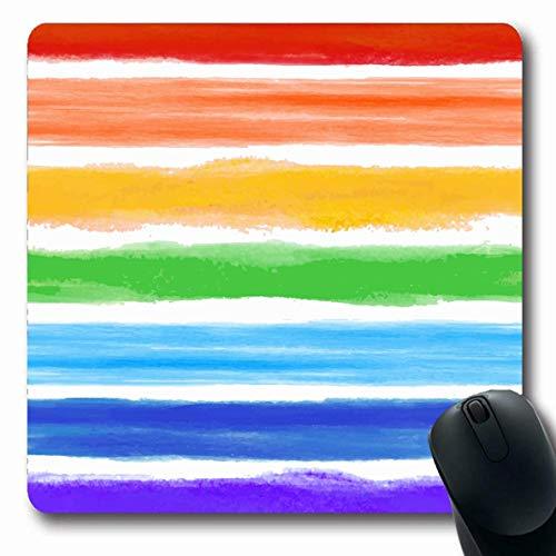 Mousepad Längliche geometrische blaue Regenbogen-Aquarell-Streifen-abstrakte rosa helle Muster-Wäscheleine-Ozean-künstlerische Büro-Computer-Laptop-Notizbuch-Mausunterlage, rutschfester Gummi