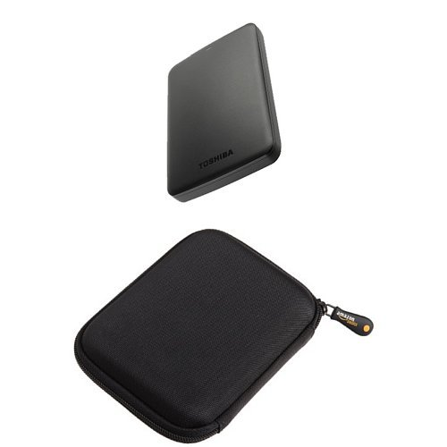 Price comparison product image Toshiba 1 TB Canvio Basics USB 3.0 Portable External Hard Drive and AmazonBasics Hard Drive Case Bundle