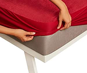 "Wakefit Water Proof Terry Cotton Mattress Protector - 78"" x 72"", King Size, Maroon"
