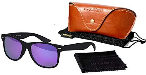 Balinco Hochwertige Polarisierte Nerd Rubber Sonnenbrille im Set (24 Modelle) Retro Vintage Unisex Brille mit Federscharnier (Black-Purple Mirror)