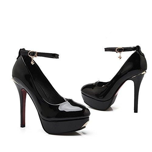 AllhqFashion Femme Boucle Pu Cuir Rond Stylet Couleur Unie Chaussures Légeres Noir