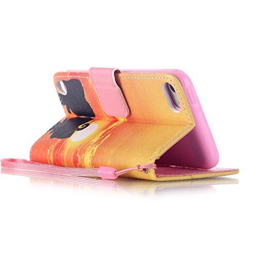 Coque pour iPhone iPod Touch 5, Etui pour iPod Touch 6, ISAKEN Peinture Style PU Cuir Flip Magnétique Portefeuille Etui Housse de Protection Coque Étui Case Cover avec Stand Support et Carte de Crédit Coucher du Soleil