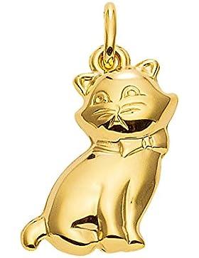 Gold 14 k ( 585 ) Motiv - Anhänger - Katze - B. 15 mm - H. 15,6 mm