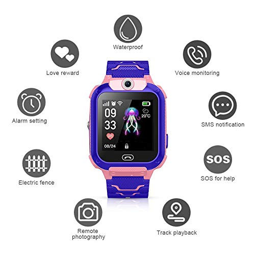 DokFin Kinder SOS Smart Watch, Multifunktionale wasserdichte Armbanduhr mit Remote-Kamera / 2G Watch Call/SMS-Benachrichtigungen/Spiel/Taschenlampe/Voice-Chat-Funktion (Verizon Monitoring Home)