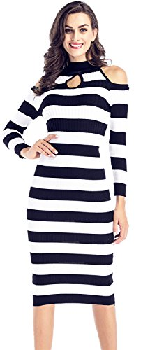 Langarm Hohem Ausschnitt Cold Shoulder Schulterfrei Schulterfreies Kalte Schulter Gerippter Midi Midikleid Bodycon Etui Etuikleid Figurbetontes Sweater Dress Kleid Schwarz Weiß Gestreiftes L (Sweater Knit Ribbed Neck Mock)