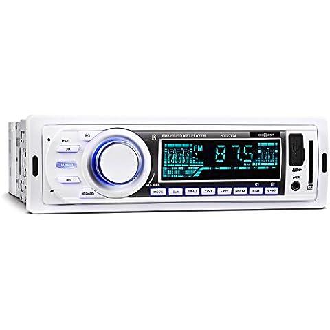 oneConcept MD-185 Radio para coche MP3 USB SD FM AUX blanco