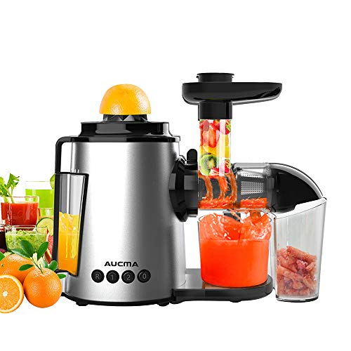 Entsafter Slow Juicer,AUCMA Slow Juicer BPA-frei Entsafter Gemüse und Obst Profi Entsafter,Kauen entsafter mit Ruhiger Motor und Umkehrfunktion,Kältepresse Entsafter Leicht mit Pinsel zu reinigen