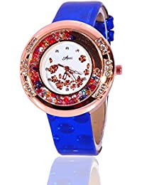 Fusine™ Amni Fashion Double Stone Studded 3D Leather Watch For Women (Round) Party Wear (Blue)