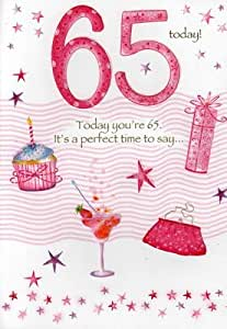 Second Nature Female 65Th 65 Birthday Cards Poetry In Motion Glitter Greeting Card Nice Verse by Second Nature