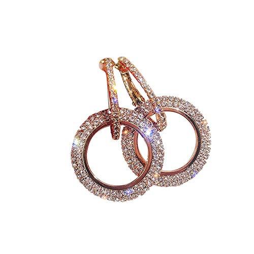 SMILEQ Luxus Runde Diamant Ohrringe Frauen Silber Gold Rosegold Glitter STU Ohrringe (Roségold) (Indische Ring Nickel)