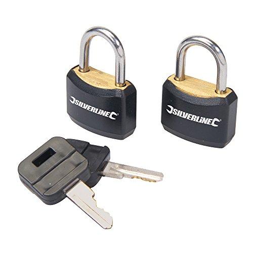 Silverline 663004 - Candados con cierre de una sola llave, 2 pzas 20 mm