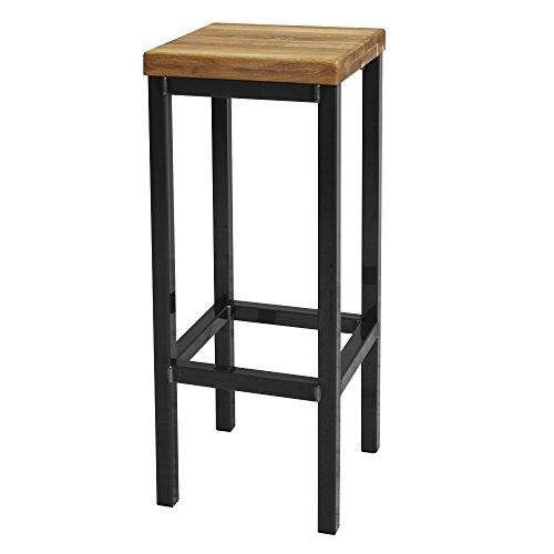 EIN Original-BestLoft® Barhocker Handmade Industriedesign Loft Stahl Holz Eiche massiv 78cm (Hell, 78cm)