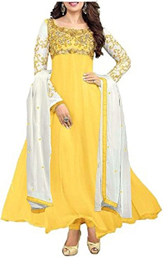 Sky Creation Women\'s Georgette Anarkali Suit (74365_Free Size_SKY BLUE)