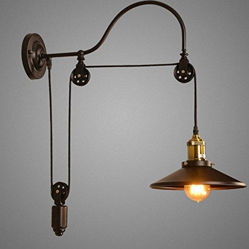 ng Wandlampe Wandleuchten Wand Lampe Indoor E27 Riemenscheibe Metall Industrie Kreative Retro für Wohnzimmer Schlafzimmer Arbeitszimmer Hotel Flur (Halloween-kuchen-dekoration-klasse)