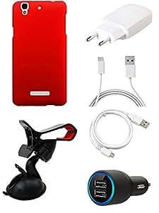 NIROSHA Cover Case Charger USB Cable Mobile Holder for YU Yureka - Combo