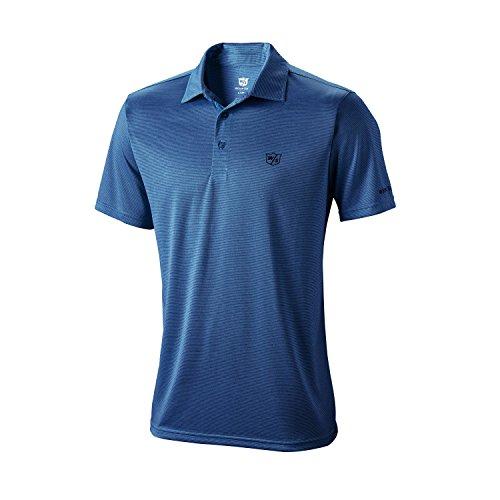 Wilson Golf Homme Polo de Sport, Stripe Polo, Polyester, Bleu foncé (Evening Blue), Taille: M,...
