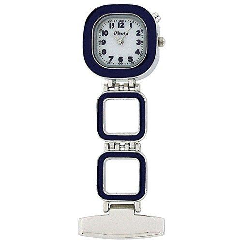 Mit Taschenuhren Kalender (THE OLIVIA COLLECTION TOC54 Blaue Taschenuhr mit weißem Ziffernblatt und Hintergrundbeleuchtung für Krankenschwestern)