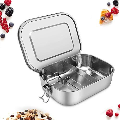 Cozywind scatola pranzo in acciaio inox 1400ml contenitore per alimenti compreso divisorio rimovibile scompartimenti per il pranzo ideale per bambini e adulti per escursioni/viaggi/scuola