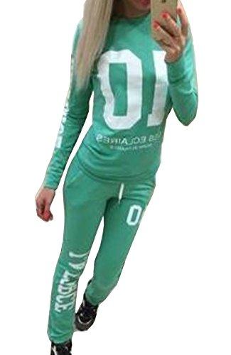 Felpa Pullover Maglie a Manica Lunga Pantaloni Tute da Ginnastica Abbigliamento Sportivo Tuta Jogging Donna Primavera Autunno Jumper T-shirt Verde