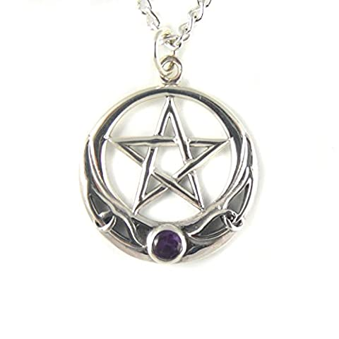 Mystical & Magical Silver Amethyst Celtic Pentacle Pentagram Pendant on 20